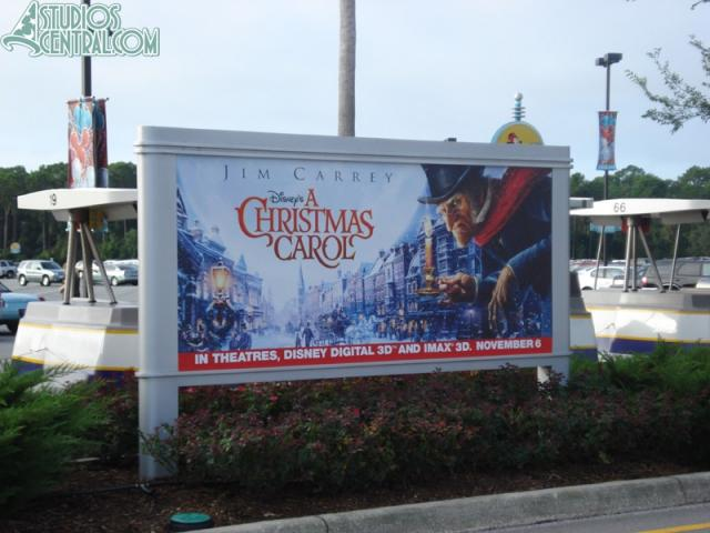 One of many new A Christmas Carol posters throughout the park