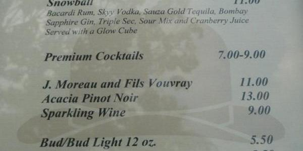 Special New Years Eve drink menu