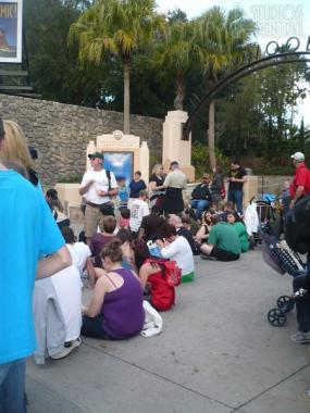 Guests waiting for first Fantasmic! showing