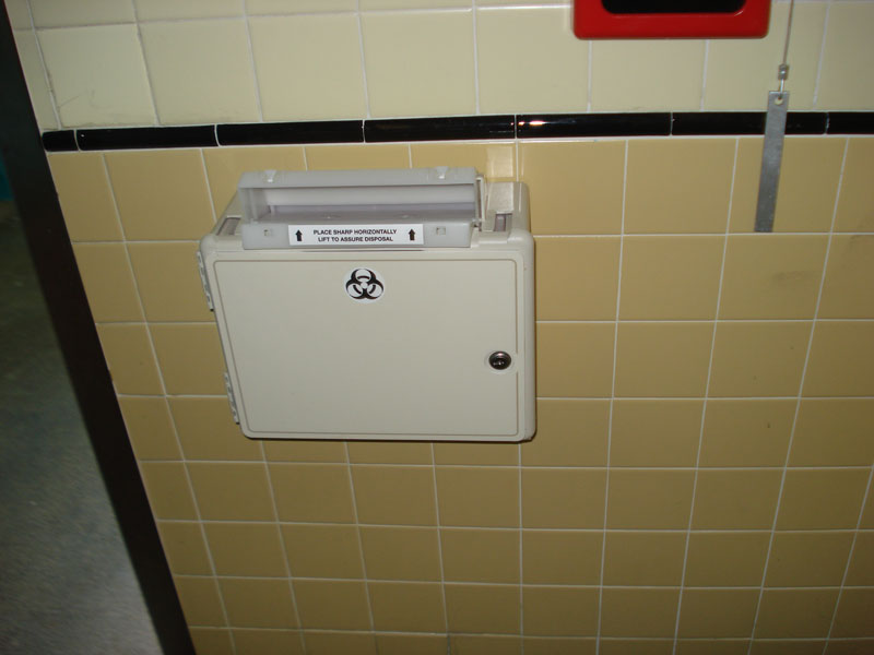 Bio-medical waste station installed in one of the bathrooms