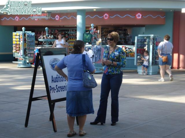 Guests begin the auditioning process before the park opens.