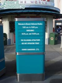 Operating hours on a not so crowded day at the Studios