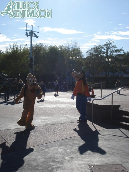 Goofy and Pluto headed for a meet and greet