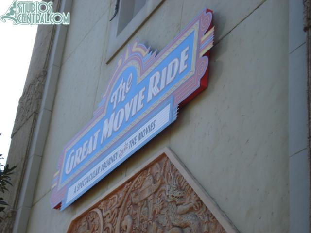 Temporary Great Movie Ride sign still up