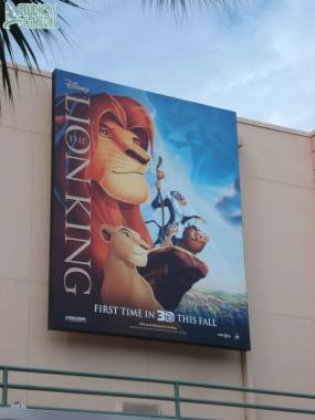 Big sign up in the Courtyard for the Lion King 3D release