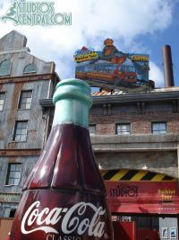 The Coca-Cola bottle seems to be broken outside of the Backlot Tour