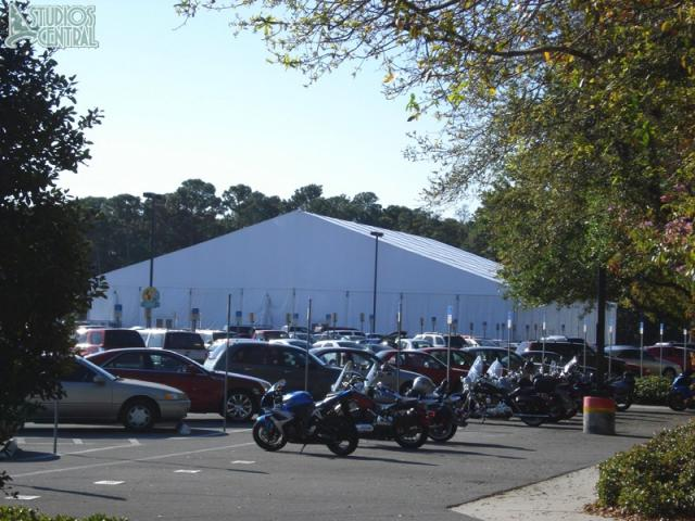The dance competition tent in the Television parking lot