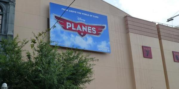 Planes billboard with theater date