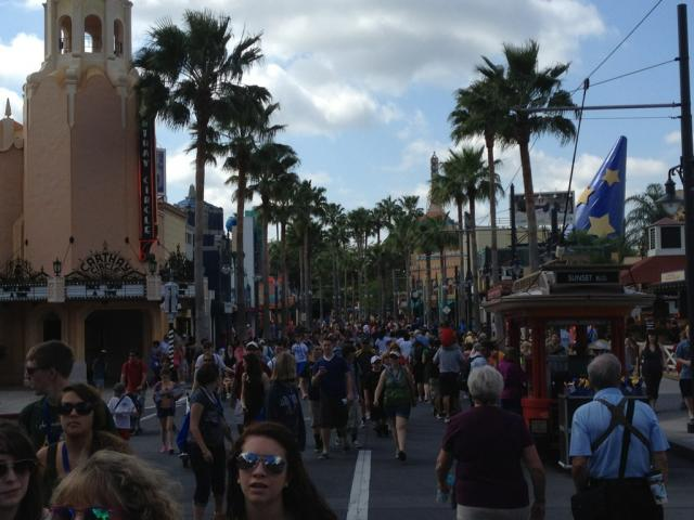 A crowded Sunset Boulevard