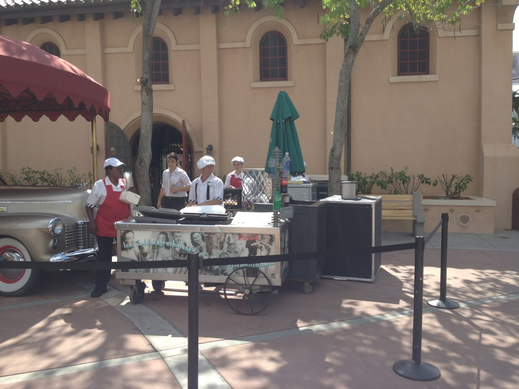 Temporary hot dog cart on Sunset Boulevard