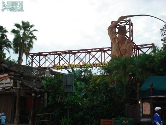 The Indiana Jones sign is missing from the entrance