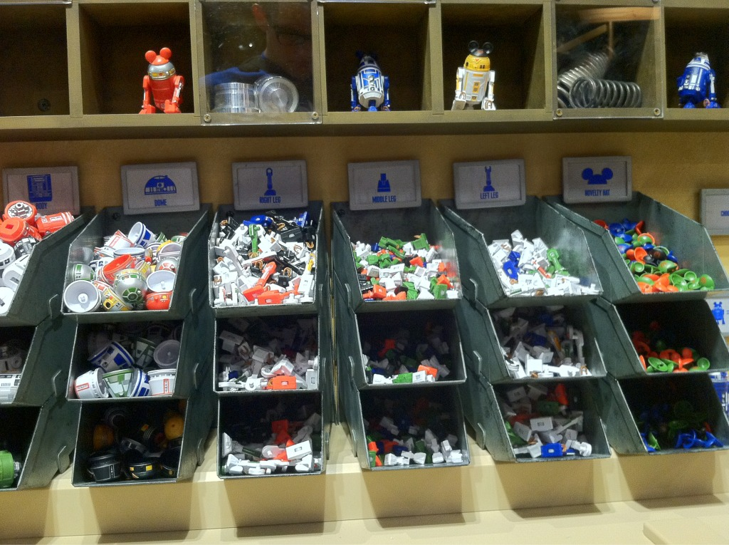 All of the parts currently available at the Star Wars Droid factory
