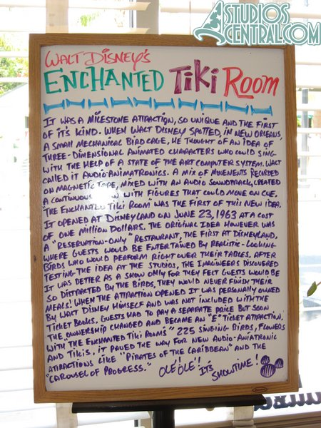 Some Tiki Room trivia