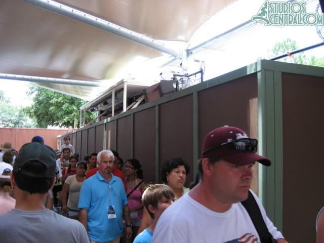 A construction wall in the Narnia queue