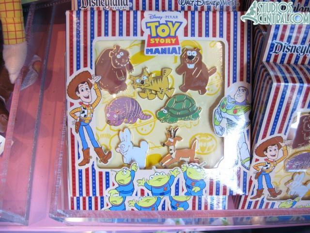 Some pins of the prizes from Toy Story Mania for sale