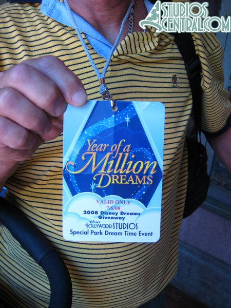 Lots of guests had won these in the parks, which are passes for a special Year of a Million Dreams Extra Magic Hour