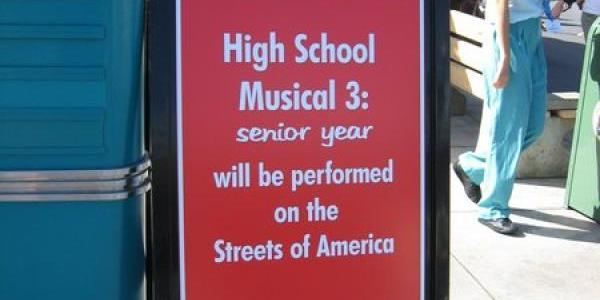 High School Musical has been moved to Streets of America because of Super Soap Weekend