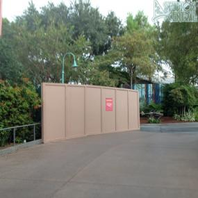 Construction wall still up around smokers section near Star Tours