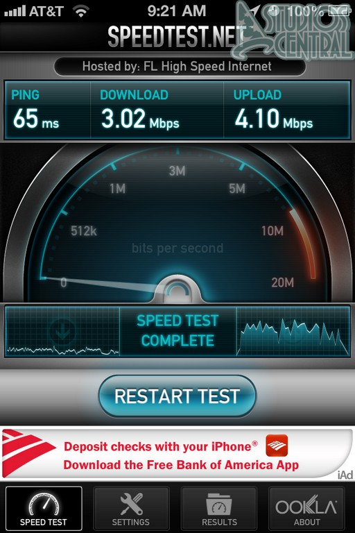 Here's a sample speed test of the wifi speeds