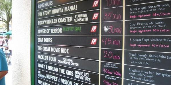 Wait times around the park