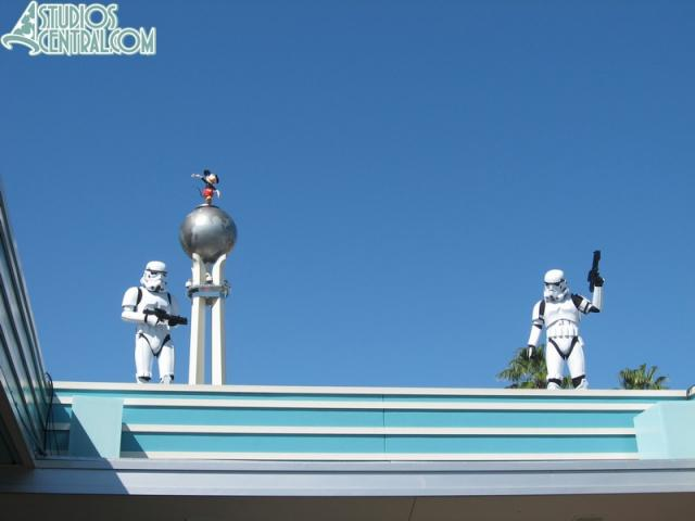 The storm troopers above the entrance to the Studios