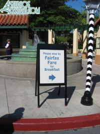 Sign indicating breakfast is available at Fairfax Fare and not ABC Commissary anymore