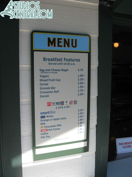 The Fairfax Fare breakfast menu