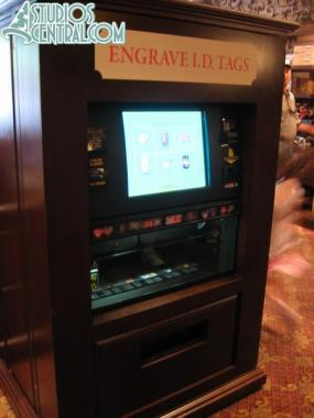 New ID engraving station inside the Tower of Terror gift shop.