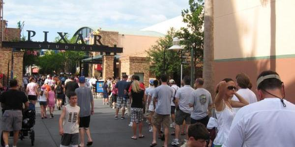 The long Fastpass queue for Toy Story Midway Mania