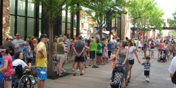 The line of people waiting for Toy Story