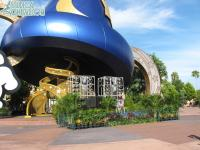 A stage in front of the Sorcerer's hat for an after-hours party