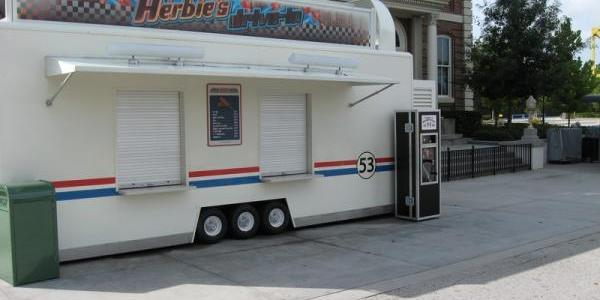 New pressed penny machine near entrance to Lights, Motors, Action! Extreme Stunt Show