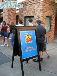 The front of the Fastpass line for Toy Story