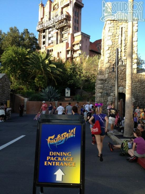 Fantasmic! Dinner Package entrance near Tower of Terror exit