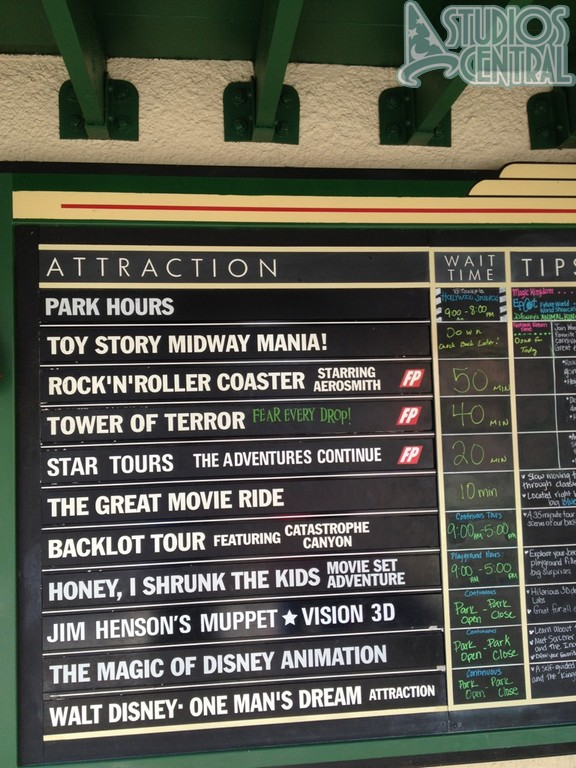 Wait times in early afternoon