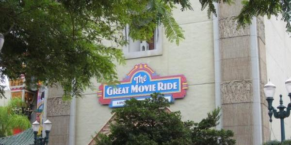 The temporary sign at the Great Movie Ride is still up