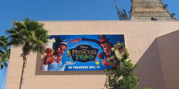 New Princess and the Frog billboard behind the Great Movie Ride
