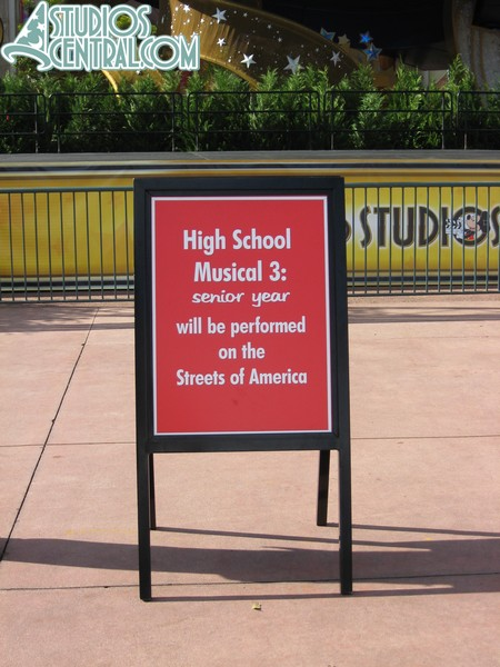 Another sign in front of the stage