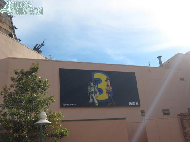 New Toy Story 3 billboard behind the Great Movie Ride