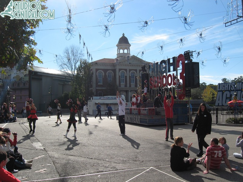 High School Musical Pep Rally being performed on the Streets of America