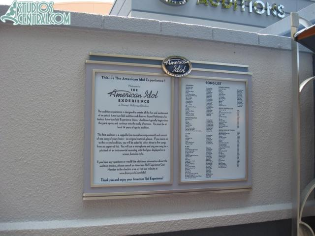 Sign outside American Idol Experience audition area