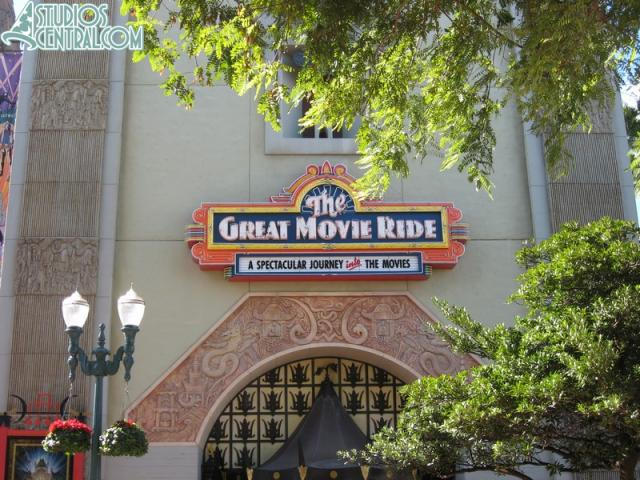 The new sign for the Great Movie Ride is installed