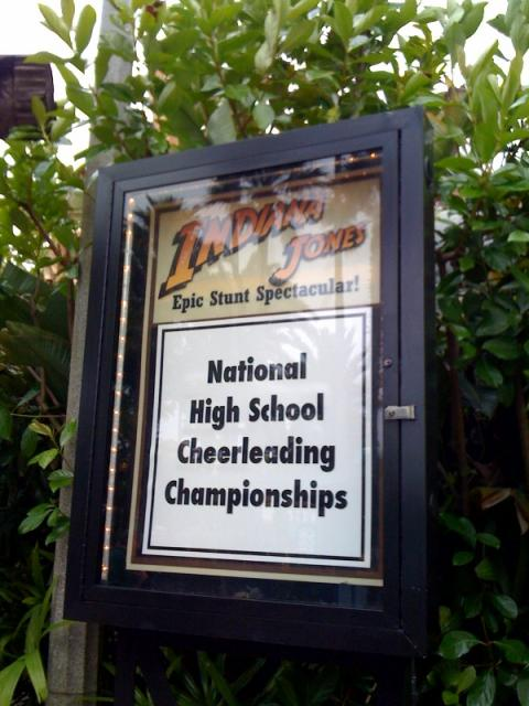 Indiana Jones closed on Saturday for cheerleading competition