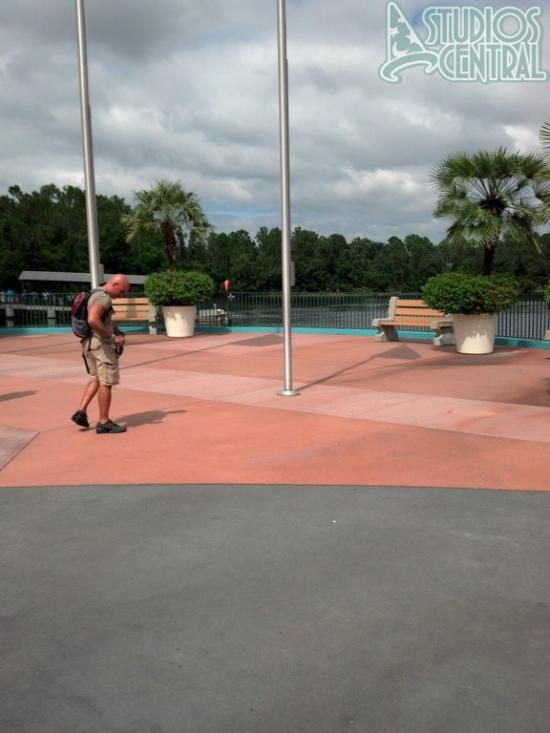 The construction walls behind the Monsters topiary are finally down